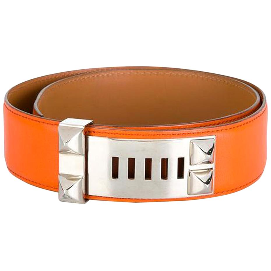 Gorgeous Hermes Orange Calfskin Leather Collier de Chien Medor Belt 75cm