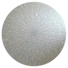 Impressive White Round Mid-Century Modern Glass Mosaic Coffee Table