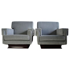 Italian Grey Blue Mid-Century Modern Lounge Chairs