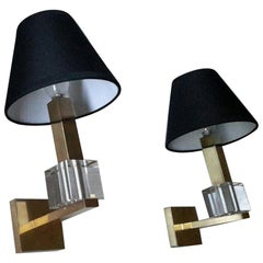 Gorgeous Jacques Adnet French Mid-Century Modern Sconces, France, 1940s