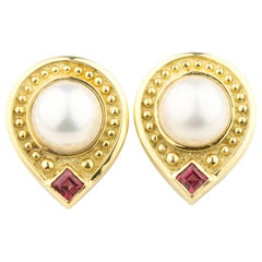 Gorgeous JJ Marco 18 Karat Gold Pearl and Pink Sapphire Etruscan Drop Earrings