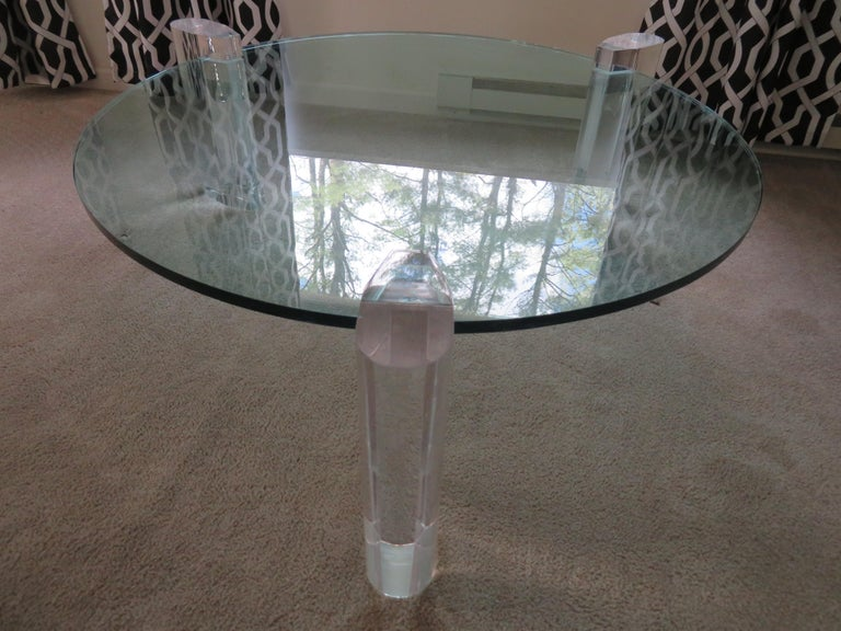 Gorgeous Karl Springer Style Lucite Column Round Coffee Table Mid-Century Modern For Sale 4