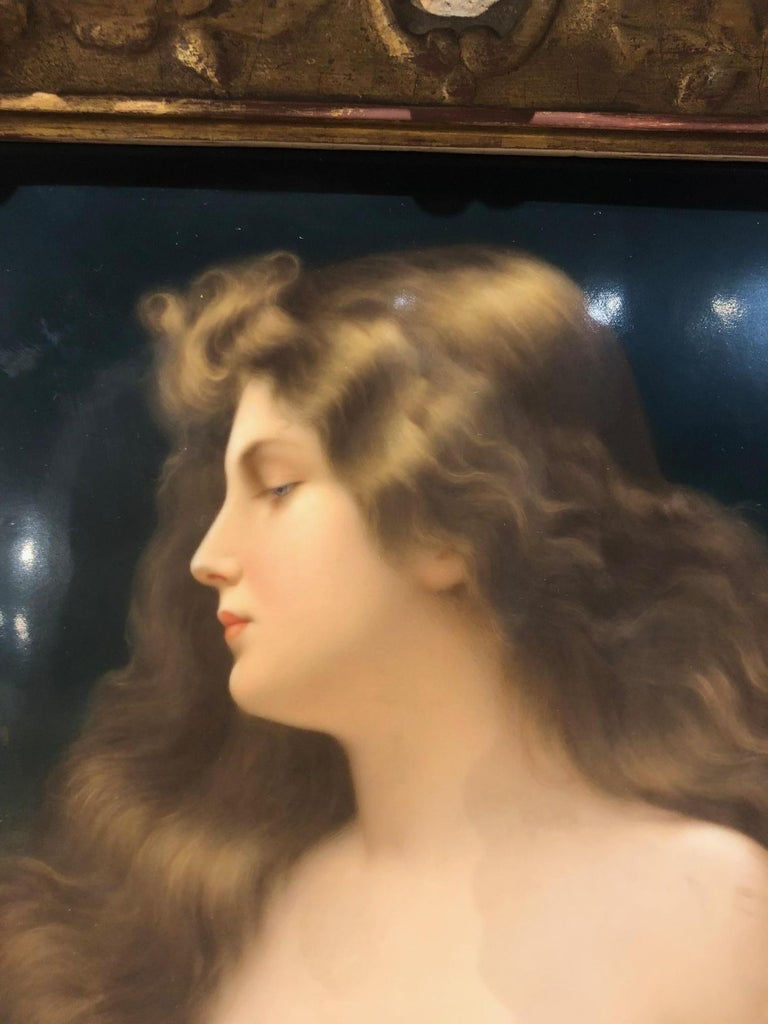 """Gorgeous KPM Berlin porcelain plaque of a beauty after Astiwith original giltwood frame.  circa 1880.  Plaque size: 10"""" x 12.5"""".   Signed KPM on the back.  Excellent condition."""