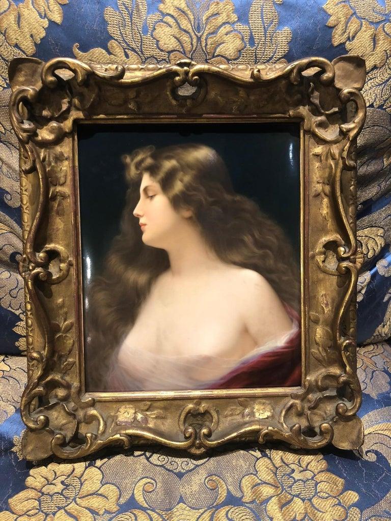 German Gorgeous KPM Berlin Porcelain Plaque of a Beauty with Original Frame