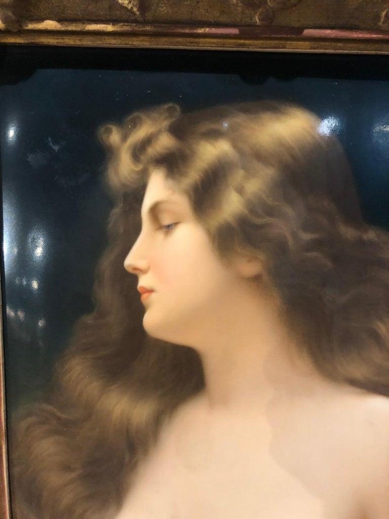 19th Century Gorgeous KPM Berlin Porcelain Plaque of a Beauty with Original Frame