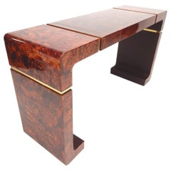 Gorgeous Lacquered Birdseye Burl and Brass Console Table or Desk