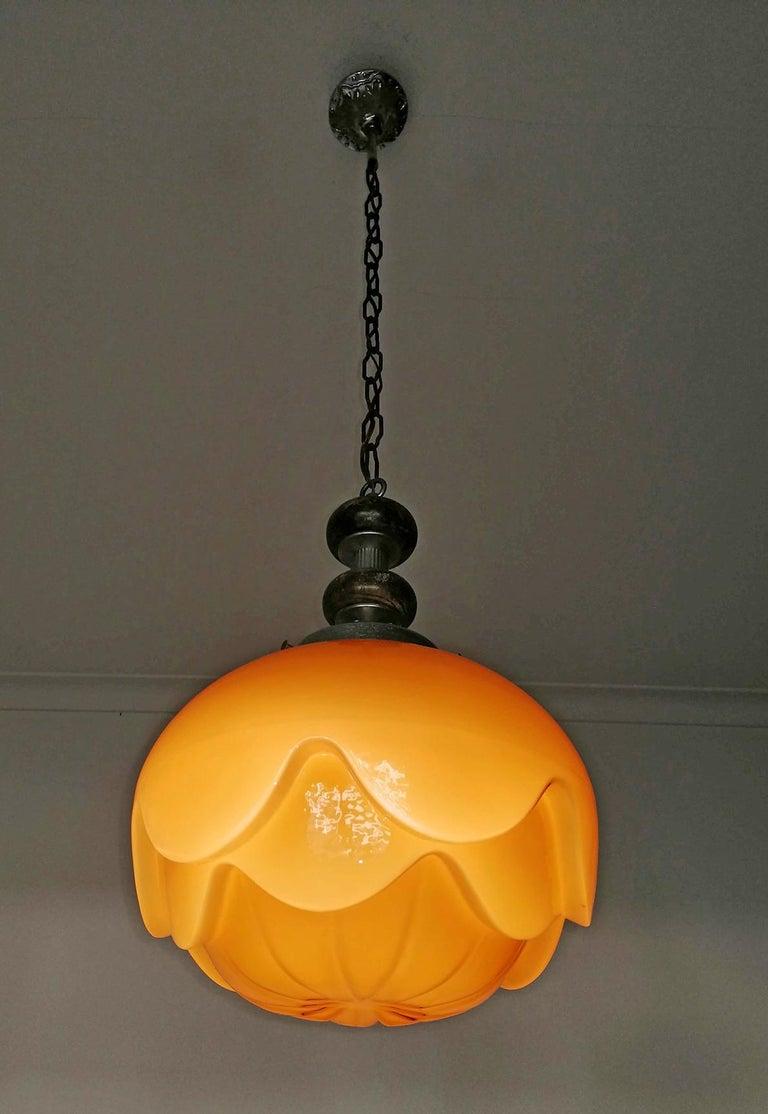 Gorgeous Large Bauhaus Art Deco Opaline Amber Glass Shade Pendant Chandelier For Sale 7