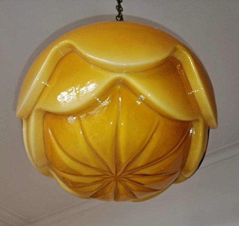 Mid-20th Century Gorgeous Large Bauhaus Art Deco Opaline Amber Glass Shade Pendant Chandelier For Sale