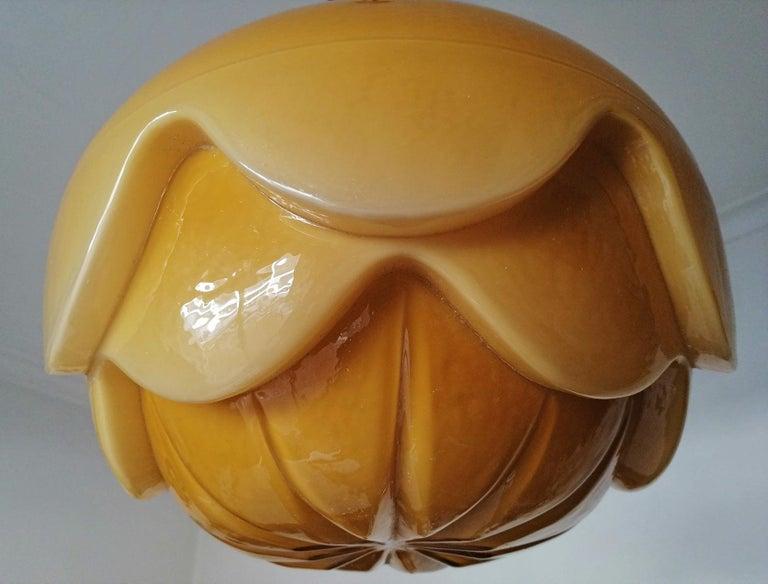 Gorgeous Large Bauhaus Art Deco Opaline Amber Glass Shade Pendant Chandelier For Sale 2