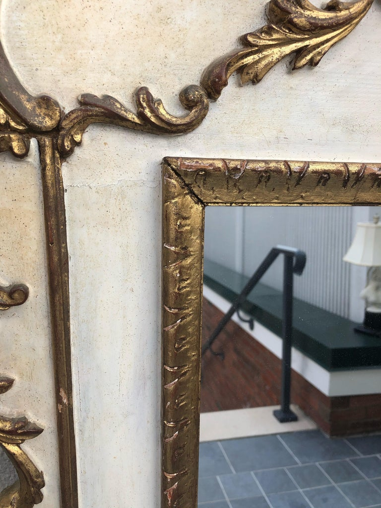 Gorgeous Large Gustavian Style Painted & Gilded Mirror For Sale 4