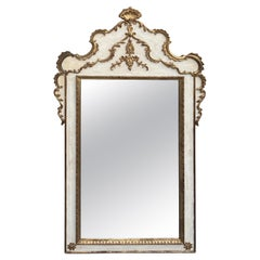 Gorgeous Large Gustavian Style Painted & Gilded Mirror