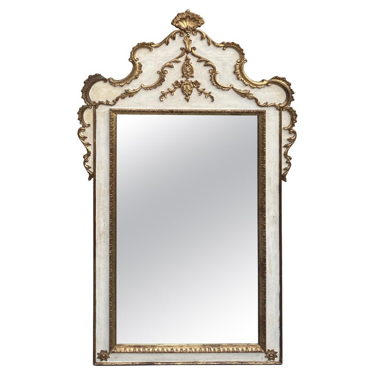 Gorgeous Large Gustavian Style Painted & Gilded Mirror For Sale