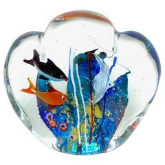 Gorgeous Large Murano Italian Art Glass Fish Aquarium Paperweight, Italy, 1970s