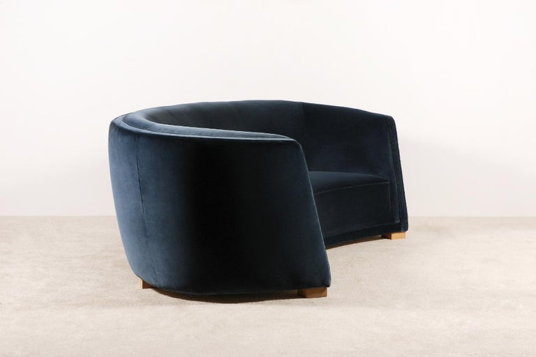 Upholstery Gorgeous Large Three-Seat Danish Curved Sofa from 1930s For Sale
