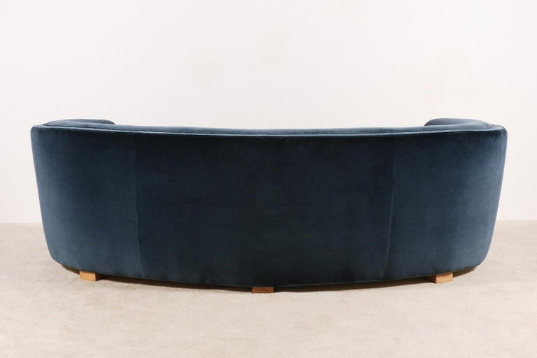 Gorgeous Large Three-Seat Danish Curved Sofa from 1930s For Sale 1