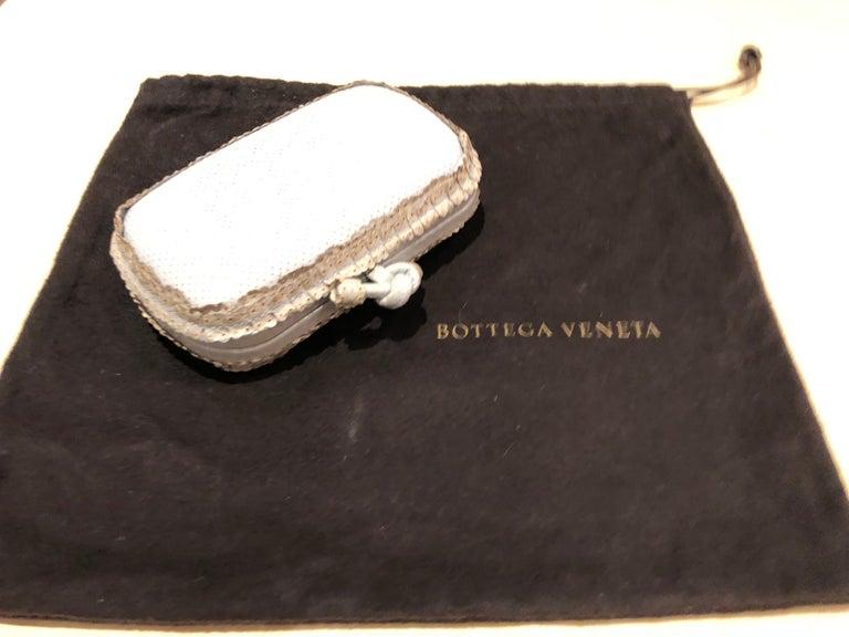 Leather Gorgeous Little Light Blue Bottega Veneta Vintage Clutch For Sale
