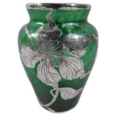 Gorgeous Loetz Art Nouveau Green Silver Overlay Vase