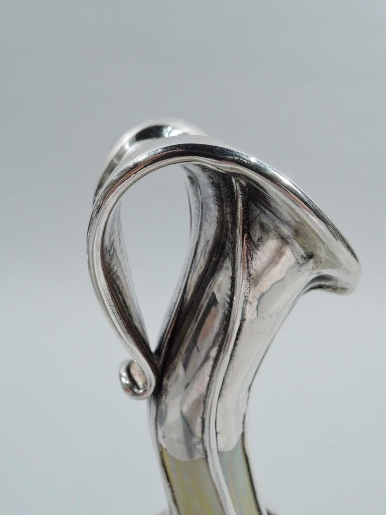 20th Century Gorgeous Loetz Phaenomen Art Nouveau Silver Overlay Vase For Sale