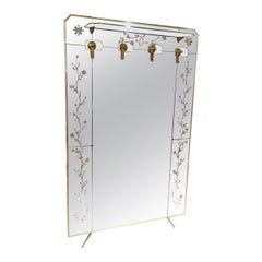 Gorgeous Midcentury Italian Brass Dressing/Wardrobe Mirror