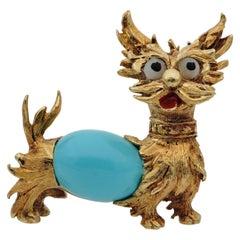 Midcentury Turquoise Dog Brooch 18 Karat