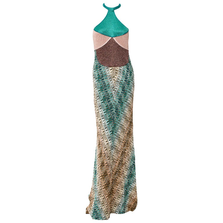 Gorgeous Missoni Metallic Lurex Crochet Knit Evening Dress Gown with Cardigan For Sale