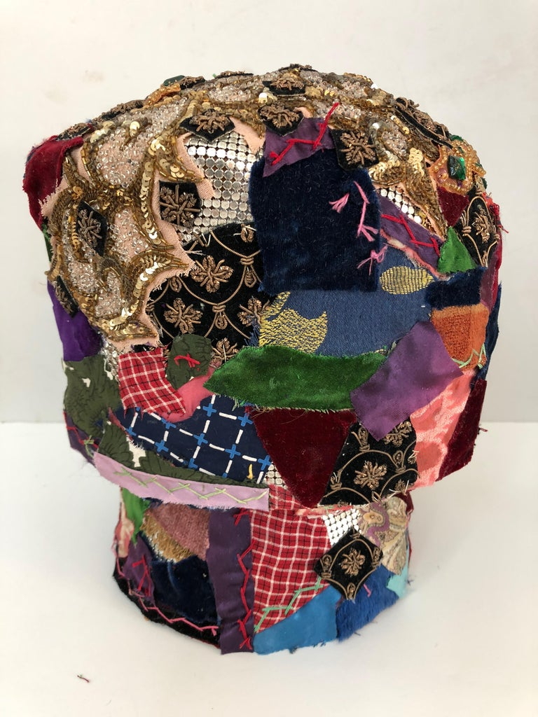 American Gorgeous Mixed-Media Crazy Quilt and Gold Lame Head Sculpture For Sale