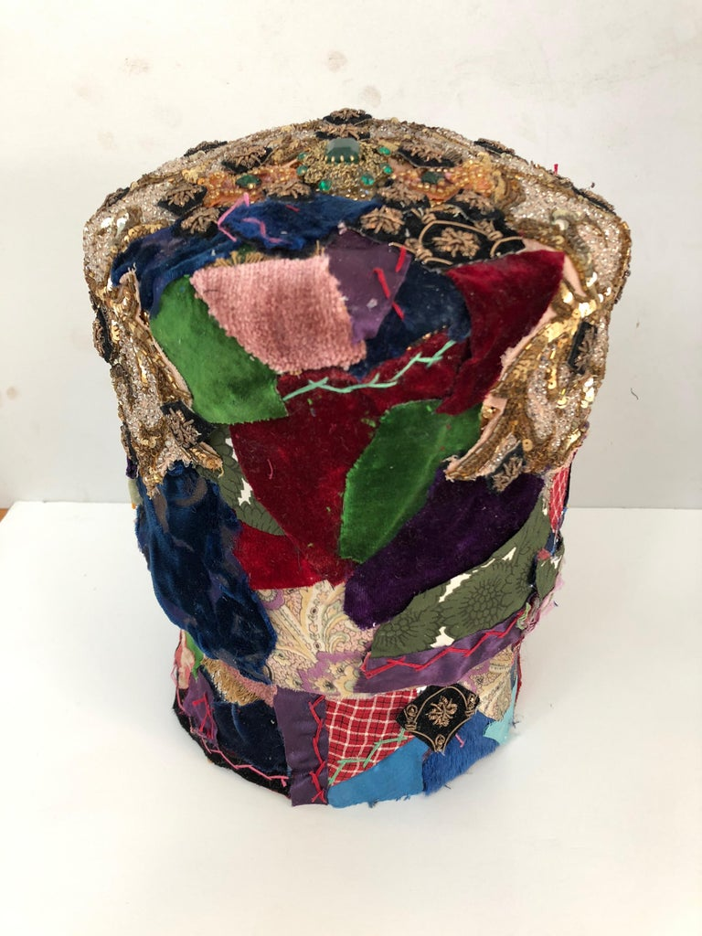 Gorgeous Mixed-Media Crazy Quilt and Gold Lame Head Sculpture In Excellent Condition For Sale In Hopewell, NJ