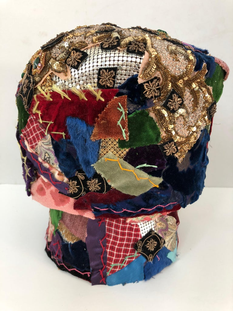 Contemporary Gorgeous Mixed-Media Crazy Quilt and Gold Lame Head Sculpture For Sale