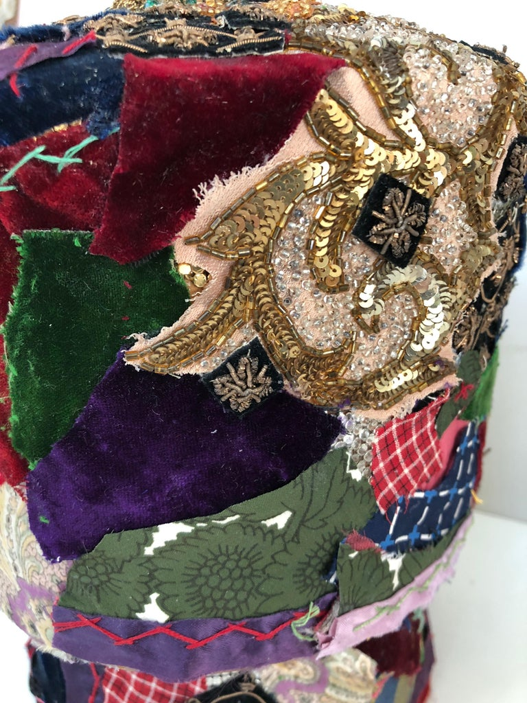 Metal Gorgeous Mixed-Media Crazy Quilt and Gold Lame Head Sculpture For Sale