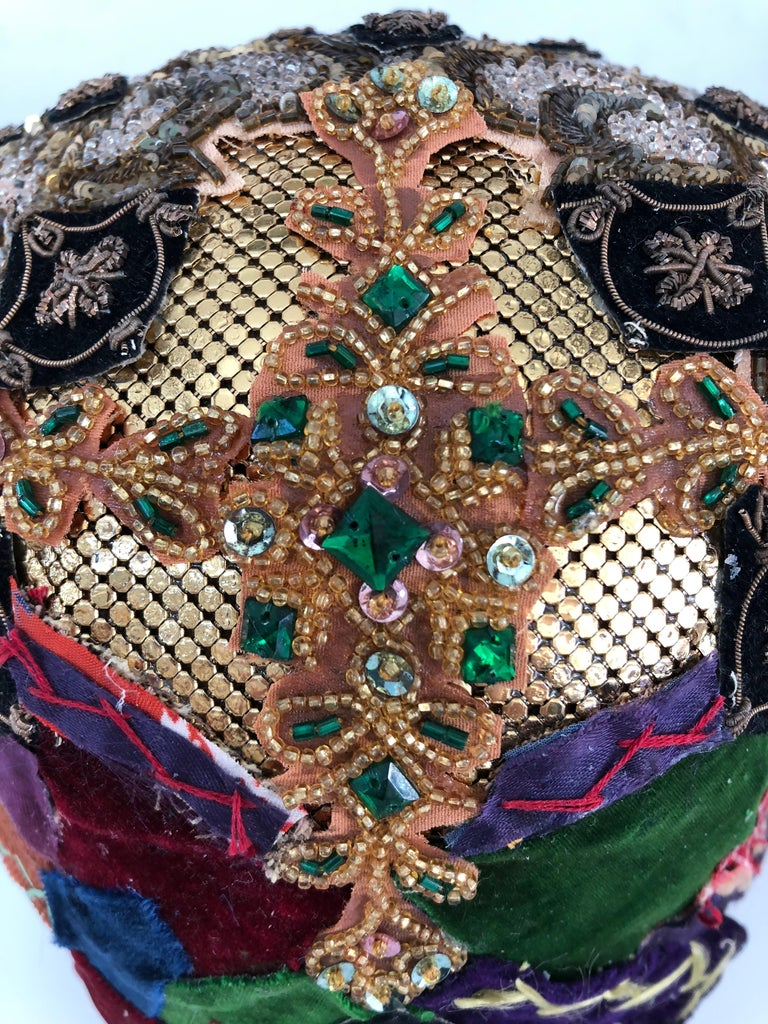Gorgeous Mixed-Media Crazy Quilt and Gold Lame Head Sculpture For Sale 1