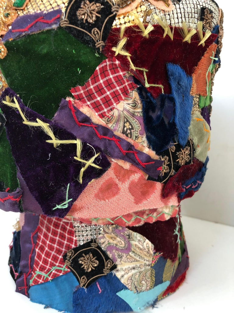 Gorgeous Mixed-Media Crazy Quilt and Gold Lame Head Sculpture For Sale 2