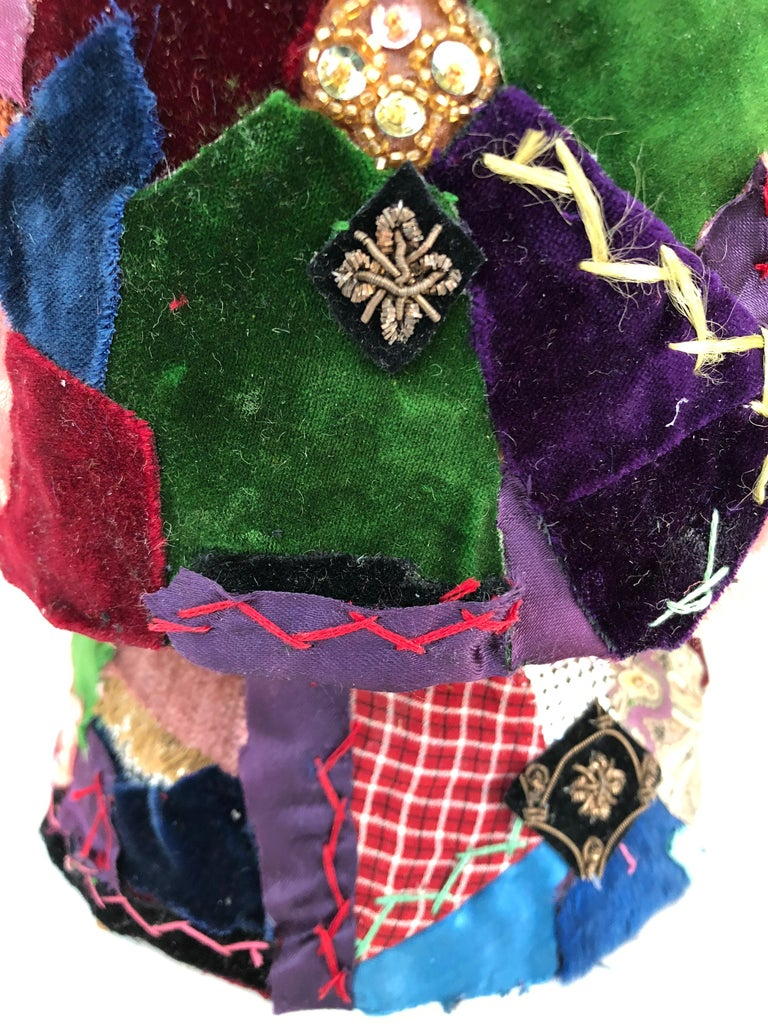 Gorgeous Mixed-Media Crazy Quilt and Gold Lame Head Sculpture For Sale 3