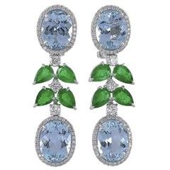 Gorgeous Modern Style Platinum Multi-Color Diamond Earrings