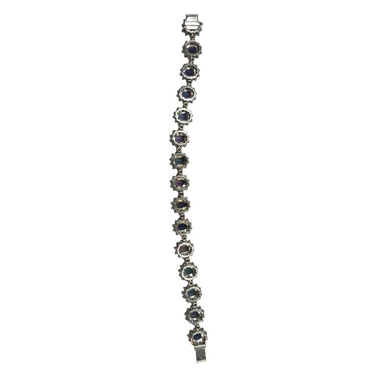 Gorgeous Multi-Color Sapphire Tennis Bracelet 18 Karat For Sale