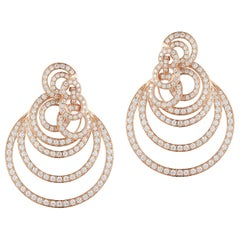 Gorgeous Multi-Layered 18 Karat Gold Diamond Hoops Earrings weighing 2.86 Carat