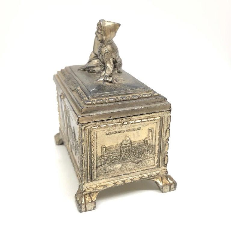 Gorgeous Munich Child Souvenir Metal Trinket Jewelry Box Antique German 1920s For Sale 5