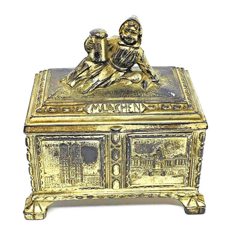 Gorgeous Munich Child Souvenir Metal Trinket Jewelry Box Antique German 1920s For Sale 6