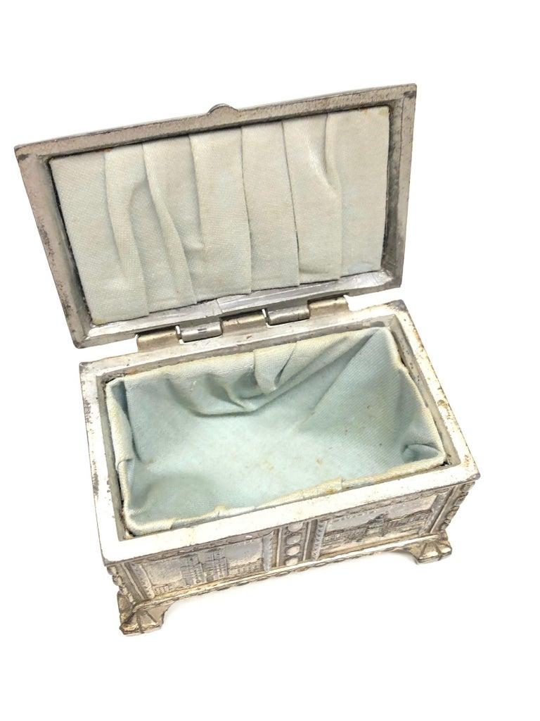 Art Nouveau Gorgeous Munich Child Souvenir Metal Trinket Jewelry Box Antique German 1920s For Sale