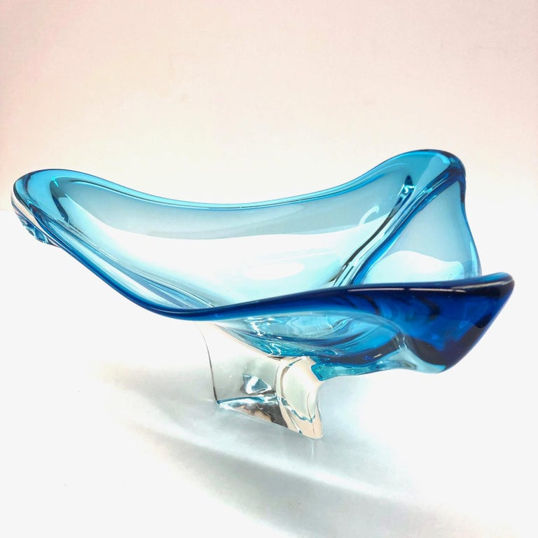 Wunderschöne Muranoglas Sommerso Schüssel, Blau und Transparent, Vintage, Italien 3
