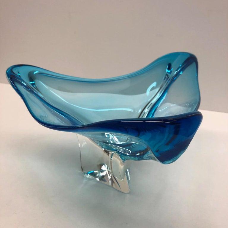 Wunderschöne Muranoglas Sommerso Schüssel, Blau und Transparent, Vintage, Italien 4