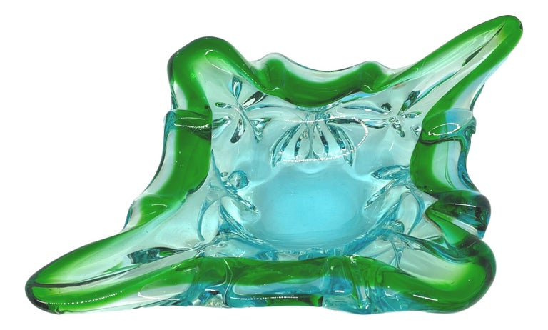 Mid-Century Modern Gorgeous Murano Art Glass Sommerso Catchall Bowl Blue Green Clear Vintage, Italy For Sale