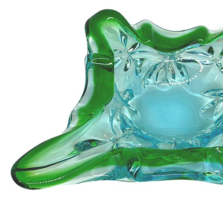 Italian Gorgeous Murano Art Glass Sommerso Catchall Bowl Blue Green Clear Vintage, Italy For Sale
