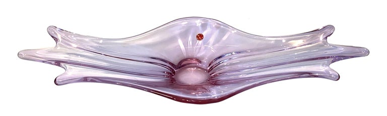 Italian Gorgeous Murano Art Glass Sommerso Fruit Bowl Pink and Clear Vintage, Italy For Sale