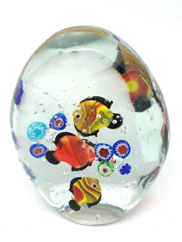 Hand-Crafted Gorgeous Murano Italian Art Glass Fish Aquarium Paperweight, Italy, 1970s For Sale