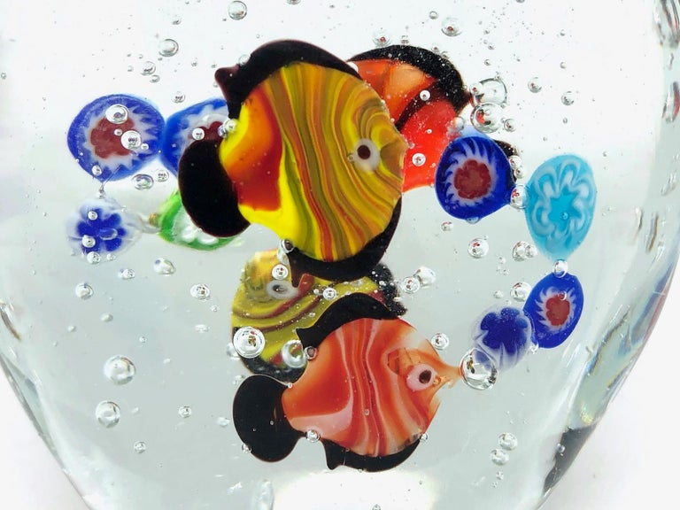 Gorgeous Murano Italian Art Glass Fish Aquarium Paperweight, Italy, 1970s For Sale 1