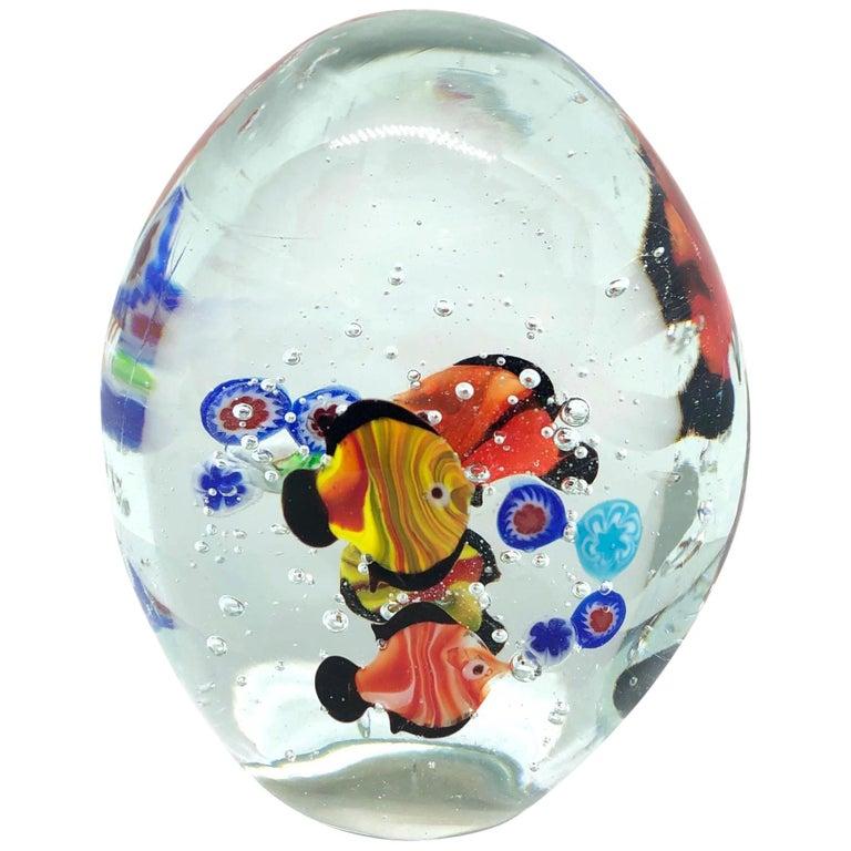 Gorgeous Murano Italian Art Glass Fish Aquarium Paperweight, Italy, 1970s For Sale