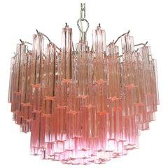 Gorgeous Murano Vintage Chandelier, 107 Pink Quadriedri