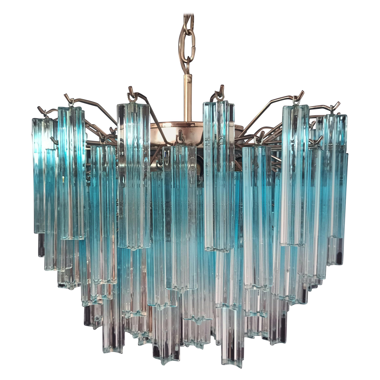 Gorgeous Murano Vintage Chandelier, 107 Quadriedri Blue Shade