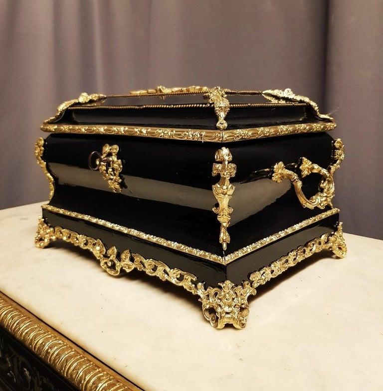 Blackened Gorgeous Napoleon III Jewelry Box, France, 19th Century For Sale
