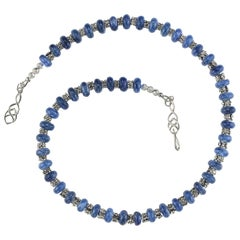 Gemjunky Gorgeous Necklace of Blue Kyanite Alternating with Silver Bali